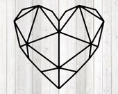 Geometric heart figure with lines. Vector cutting file for Silhouette Cameo and Cricut; SVG, Studio3, PNG + EPS.