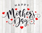 Mother's Day quote English, 'Happy Mother's Day'. Vector cutting file for Silhouette Cameo and Cricut; SVG, Studio3, PNG + EPS.
