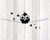 Bird on wire with hearts. Vector cutting file for Silhouette Cameo and Cricut; SVG, Studio3, PNG + EPS.