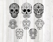 Set of 8 different, very detailed sugar skulls. Vector cutting file for Silhouette Cameo and Cricut; SVG, Studio3, PNG + EPS.