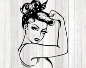 Power woman with muscles. Vector cutting file for Silhouette Cameo and Cricut; SVG, Studio3, PNG + EPS.