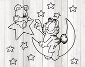 Famous cat with cuddly bear with moon and stars. Vector cutting file for Silhouette Cameo and Cricut; SVG, Studio3, PNG + EPS.