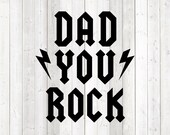 Father's Day quote 'Dad, you rock'; Daddy, Dad, heavy metal. Vector cutting file for Silhouette Cameo and Cricut; SVG, Studio3, PNG + EPS.