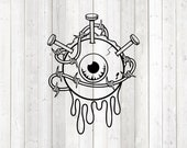 Horror eyeball tattoo with nails and barbed wire. Vector cutting file for Silhouette Cameo and Cricut; SVG, Studio3, PNG + EPS.