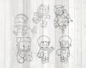 Astronaut boy and girl, bear, spacewalk. Vector cutting file for Silhouette Cameo and Cricut; SVG, Studio3, PNG + EPS.