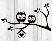 Birds in tree with birdhouse and heart. Vector cutting file for Silhouette Cameo and Cricut; SVG, Studio3, PNG + EPS.