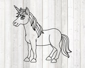 Standing unicorn. Vector cutting file for Silhouette Cameo and Cricut; SVG, Studio3, PNG + EPS.