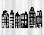 Amsterdam canal houses. Vector cutting file for Silhouette Cameo and Cricut; SVG, Studio3, PNG + EPS.
