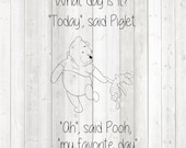Bear and pig. Quote: 'Today is my favorite day'. Vector cutting file for Silhouette Cameo and Cricut; SVG, Studio3, PNG + EPS.