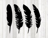 Set of 4 feathers. Vector cutting file for Silhouette Cameo and Cricut; SVG, Studio3, PNG + EPS.