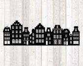 Amsterdam canal houses; Dutch façades. Vector cutting file for Silhouette Cameo and Cricut; SVG, Studio3, PNG + EPS.