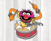 Drumming beast with collar and pointed teeth - in color. Vector cutting file for Silhouette Cameo and Cricut; SVG, Studio3, PNG + EPS.