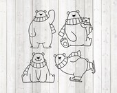 Set cute polar bears. Vector cutting file for Silhouette Cameo and Cricut; SVG, Studio3, PNG + EPS.