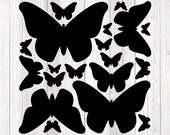Set of butterflies in all sizes. Vector cutting file for Silhouette Cameo and Cricut; SVG, Studio3, PNG + EPS.