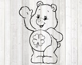 Cute pet bear with four-leaf clover on the belly. Vector cutting file for Silhouette Cameo and Cricut; SVG, Studio3, PNG + EPS.