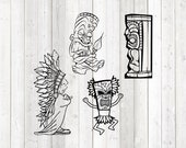 Set of 4 Indian figures; Chief, medicine man, totem pole. Vector cutting file for Silhouette Cameo and Cricut; SVG, Studio3, PNG + EPS.