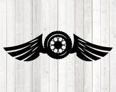 Wheel with rim and wings. Vector cutting file for Silhouette Cameo and Cricut; SVG, Studio3, PNG + EPS.
