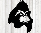 Angry looking gorilla; head silhouette. Vector cutting file for Silhouette Cameo and Cricut; SVG, Studio3, PNG + EPS.