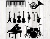 Set of 11 different instruments. Vector cutting file for Silhouette Cameo and Cricut; SVG, Studio3, PNG + EPS.