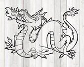 Chinese fire-breathing dragon. Vector cutting file for Silhouette Cameo and Cricut; SVG, Studio3, PNG + EPS.
