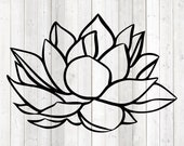 Big water lily. Vector cutting file for Silhouette Cameo and Cricut; SVG, Studio3, PNG + EPS.