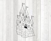 Fairy tale castle; medieval castle. Vector cutting file for Silhouette Cameo and Cricut; SVG, Studio3, PNG + EPS.