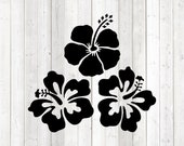 Hibiscus, set of 3 large stylized flowers. Vector cutting file for Silhouette Cameo and Cricut; SVG, Studio3, PNG + EPS.