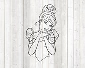 Beautiful princess with enchanting gaze. Vector cutting file for Silhouette Cameo and Cricut; SVG, Studio3, PNG + EPS.