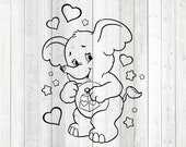 Cute pet elephant with hearts and stars. Vector cutting file for Silhouette Cameo and Cricut; SVG, Studio3, PNG + EPS.