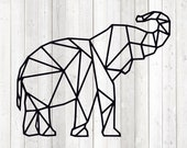 Geometric elephant, shape in lines. Vector cutting file for Silhouette Cameo and Cricut; SVG, Studio3, PNG + EPS.