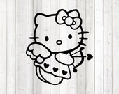 The famous kitten with the hair bow; angel with bow and arrow. Vector cutting file for Silhouette Cameo and Cricut; SVG, Studio3, PNG + EPS.