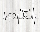 Heart rate with heart and weightlifter; fitness; Gym. Vector cutting file for Silhouette Cameo and Cricut; SVG, Studio3, PNG + EPS.