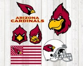 6 High quality separated images; Arizona Cardinals; Fans. Vector cutting file for Silhouette Cameo and Cricut; SVG, Studio3, PNG + EPS.