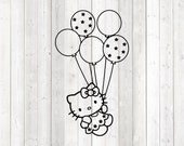 The famous kitten with the hair bow; flying with balloons. Vector cutting file for Silhouette Cameo and Cricut; SVG, Studio3, PNG + EPS.