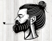 Bearded man with bun and beard. Vector cutting file for Silhouette Cameo and Cricut; SVG, Studio3, PNG + EPS.