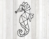 Geometric figure of a seahorse; only lines. Vector cutting file for Silhouette Cameo and Cricut; SVG, Studio3, PNG + EPS.