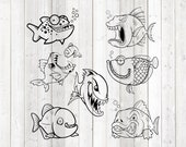 Set of 7 funny piranhas. Vector cutting file for Silhouette Cameo and Cricut; SVG, Studio3, PNG + EPS.