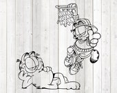 Famous cat lying and hanging from basketball net. Vector cutting file for Silhouette Cameo and Cricut; SVG, Studio3, PNG + EPS.