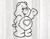 Cute pet bear with heart on the belly. Vector cutting file for Silhouette Cameo and Cricut; SVG, Studio3, PNG + EPS.