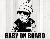 Baby on board! Vector cutting file for Silhouette Cameo and Cricut; SVG, Studio3, PNG + EPS.