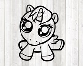 Unicorn with super big eyes. Vector cutting file for Silhouette Cameo and Cricut; SVG, Studio3, PNG + EPS.