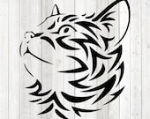 Head of a cat in tattoo style. Vector cutting file for Silhouette Cameo and Cricut; SVG, Studio3, PNG + EPS.