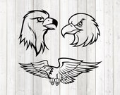 American eagle; flying eagle; Head. Vector cutting file for Silhouette Cameo and Cricut; SVG, Studio3, PNG + EPS.