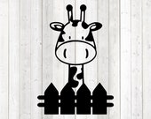 Giraffe behind the fence. Zoo. Vector cutting file for Silhouette Cameo and Cricut; SVG, Studio3, PNG + EPS.