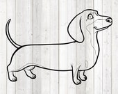 Teckel, standing dog. Vector cutting file for Silhouette Cameo and Cricut; SVG, Studio3, PNG + EPS.