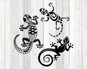 Set of lizards. Reptiles. Vector cutting file for Silhouette Cameo and Cricut; SVG, Studio3, PNG + EPS.