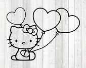 The famous kitten with the hair bow with hearts balloons. Vector cutting file for Silhouette Cameo and Cricut; SVG, Studio3, PNG + EPS.
