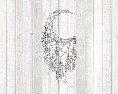 Dream catcher with feathers and beads. Vector cutting file for Silhouette Cameo and Cricut; SVG, Studio3, PNG + EPS.