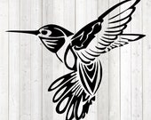 Fluttering hummingbird in tattoo style. Vector cutting file for Silhouette Cameo and Cricut; SVG, Studio3, PNG + EPS.