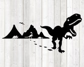 Running dinosaur with open beak and mountains in the background. Vector cutting file for Silhouette Cameo and Cricut; SVG, Studio3, PNG + EPS.